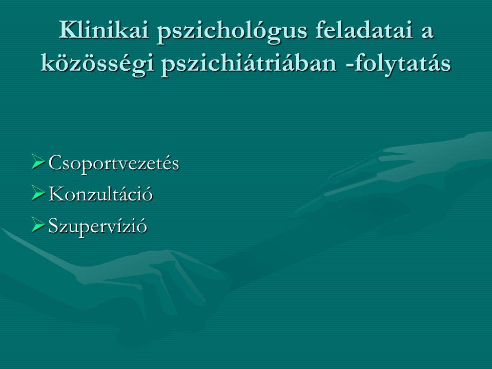 A klinikai pszichológus új szerepei  Multidiszciplináris team tagja vagy vezetője  Esetmenedzser – pl.