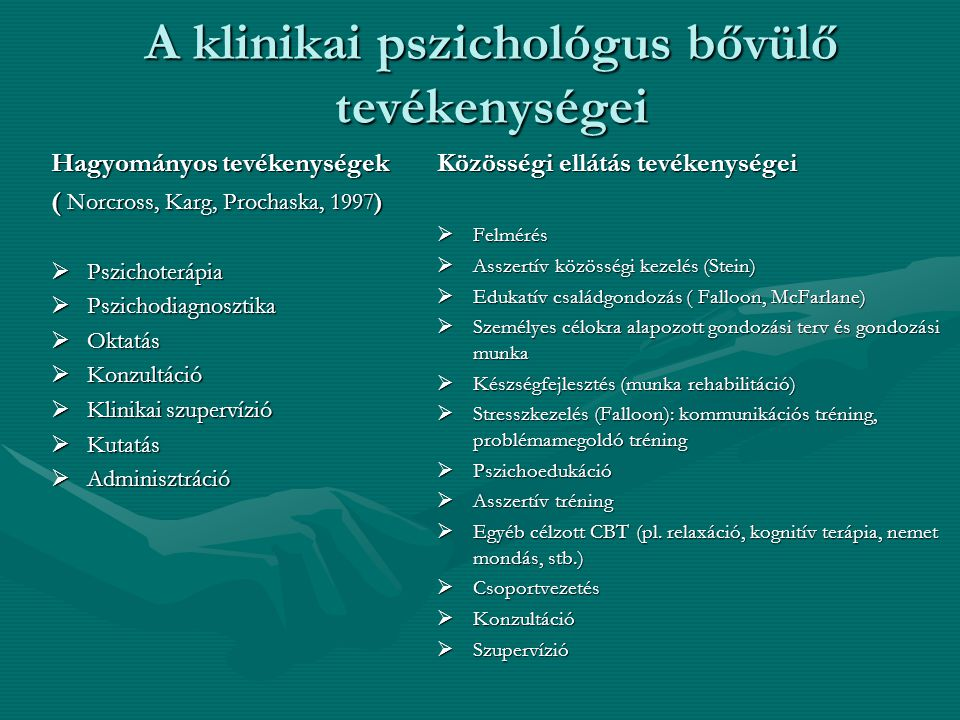 A klinikai pszichológus bővülő tevékenységei Hagyományos tevékenységek ( Norcross, Karg, Prochaska, 1997)  Pszichoterápia  Pszichodiagnosztika  Oktatás  Konzultáció  Klinikai szupervízió  Kutatás  Adminisztráció Közösségi ellátás tevékenységei  Felmérés  Asszertív közösségi kezelés (Stein)  Edukatív családgondozás ( Falloon, McFarlane)  Személyes célokra alapozott gondozási terv és gondozási munka  Készségfejlesztés (munka rehabilitáció)  Stresszkezelés (Falloon): kommunikációs tréning, problémamegoldó tréning  Pszichoedukáció  Asszertív tréning  Egyéb célzott CBT (pl.