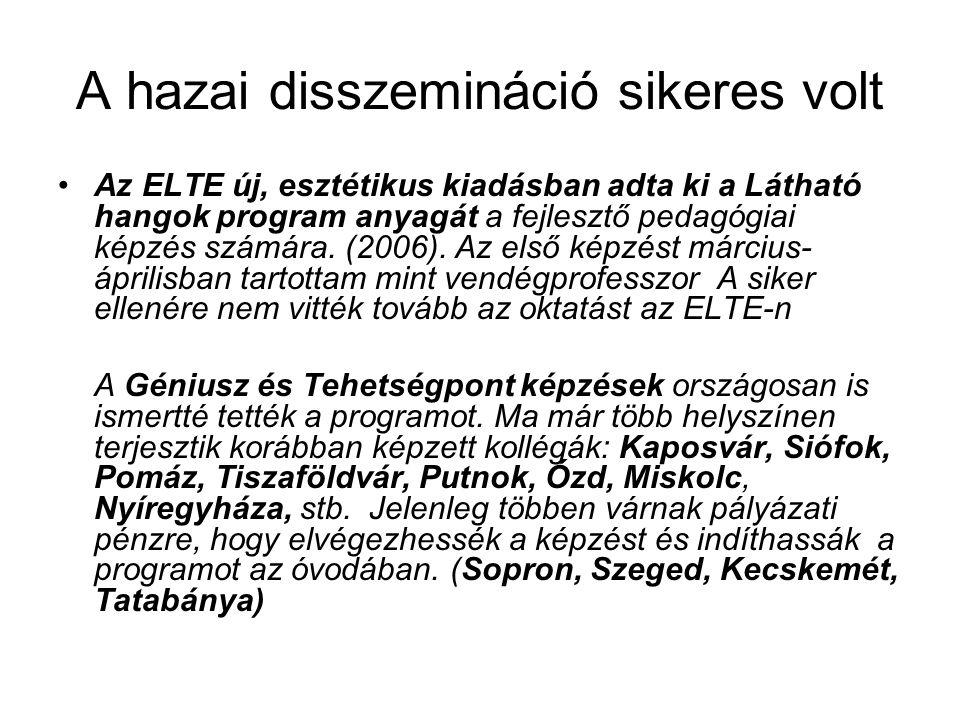 A hazai disszemináció sikeres volt Az ELTE új, esztétikus kiadásban adta ki a Látható hangok program anyagát a fejlesztő pedagógiai képzés számára.
