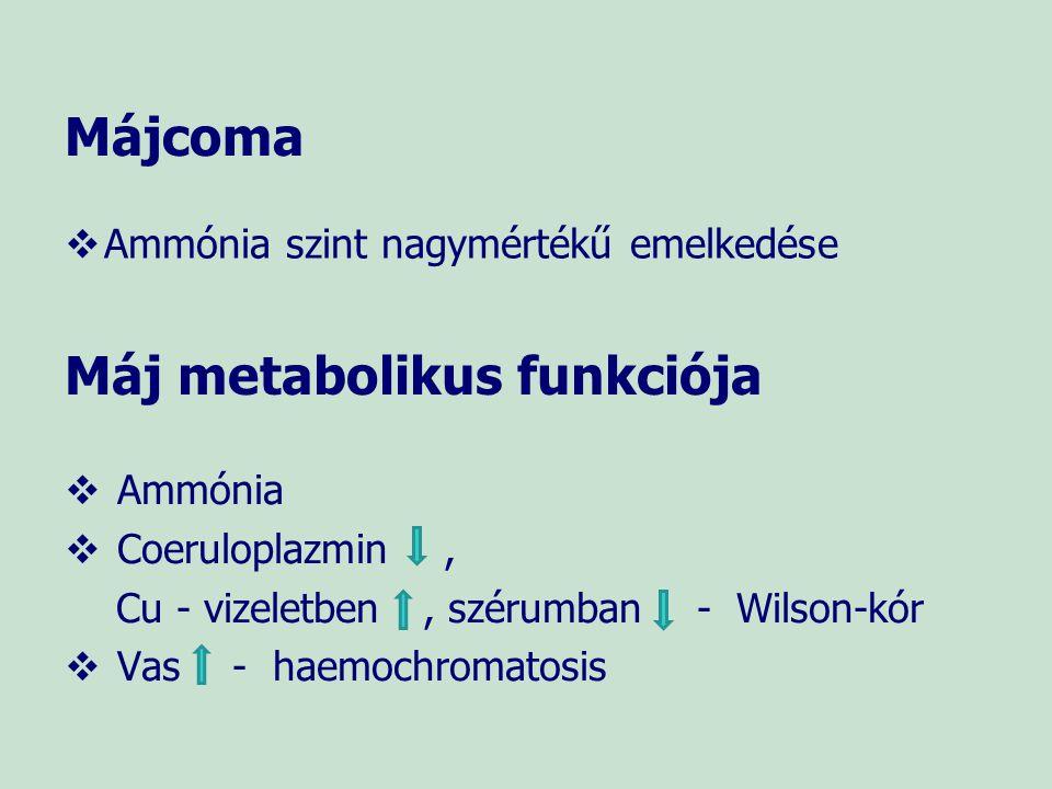 Májcoma   Ammónia szint nagymértékű emelkedése Máj metabolikus funkciója  Ammónia  Coeruloplazmin, Cu - vizeletben, szérumban - Wilson-kór  Vas -