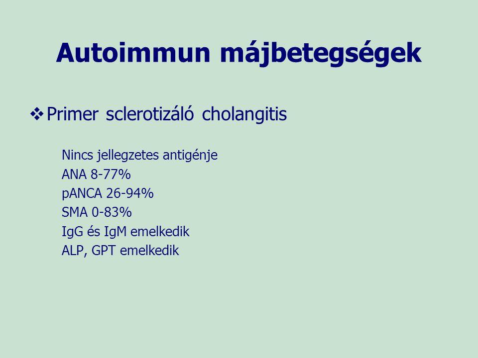 Autoimmun májbetegségek   Primer sclerotizáló cholangitis Nincs jellegzetes antigénje ANA 8-77% pANCA 26-94% SMA 0-83% IgG és IgM emelkedik ALP, GPT