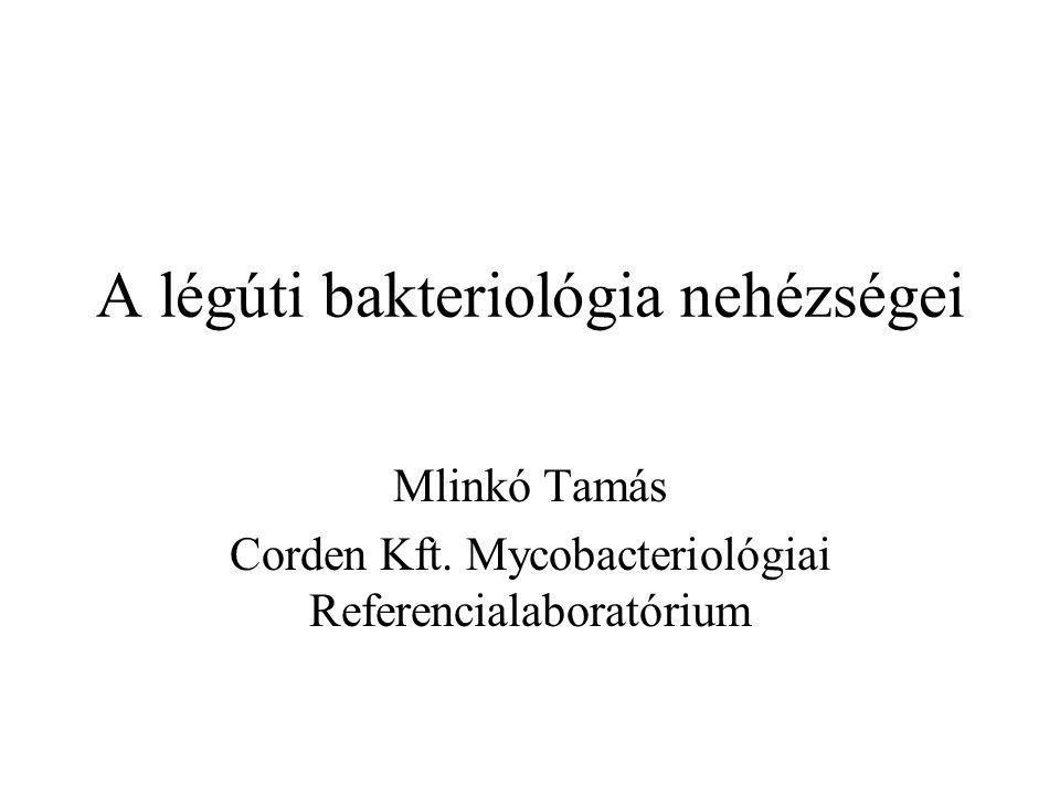 A légúti bakteriológia nehézségei Mlinkó Tamás Corden Kft.