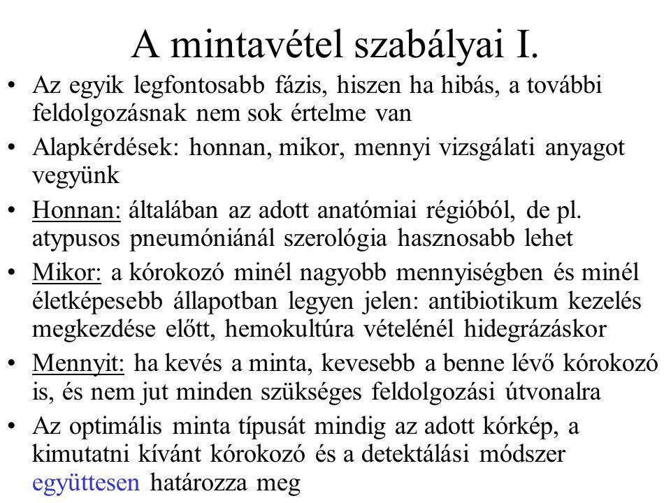 A mintavétel szabályai I.