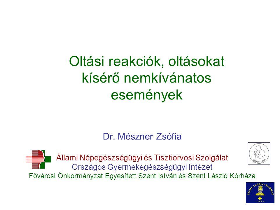 Oltási reakciók, oltásokat kísérő nemkívánatos események Dr. Mészner Zsófia Állami Népegészségügyi és Tisztiorvosi Szolgálat Országos Gyermekegészségü