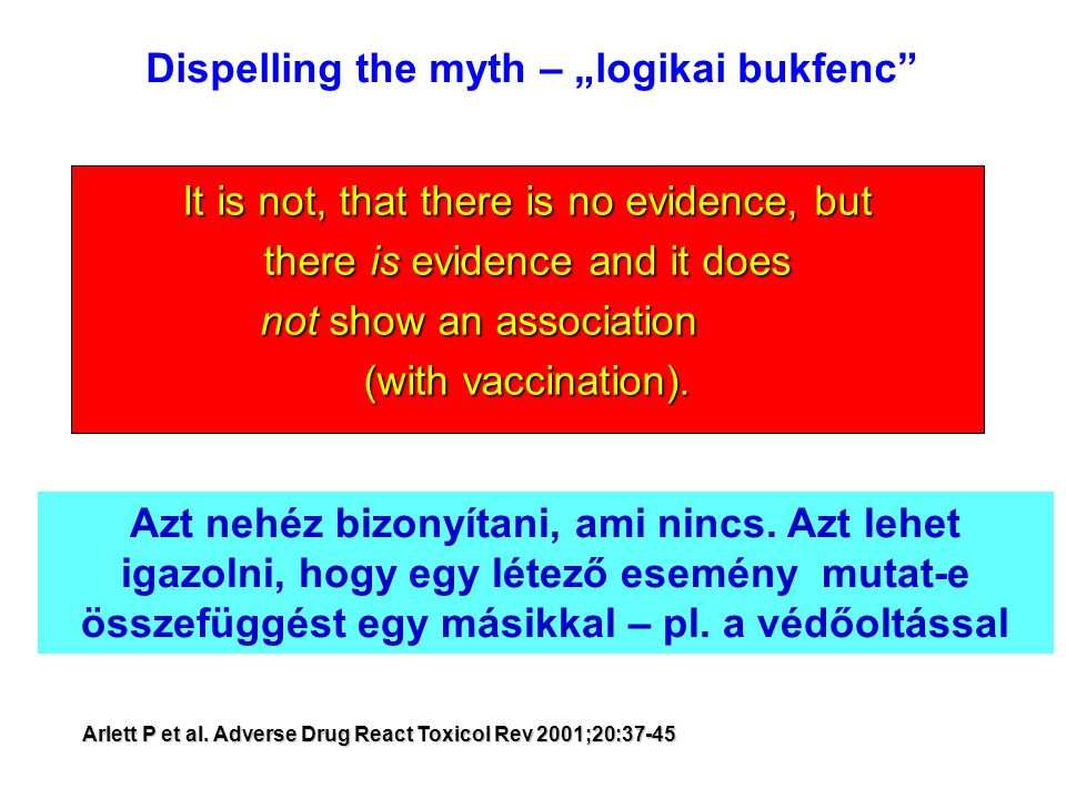 "It is not, that there is no evidence, but there is evidence and it does not show an association (with vaccination). Dispelling the myth – ""logikai buk"