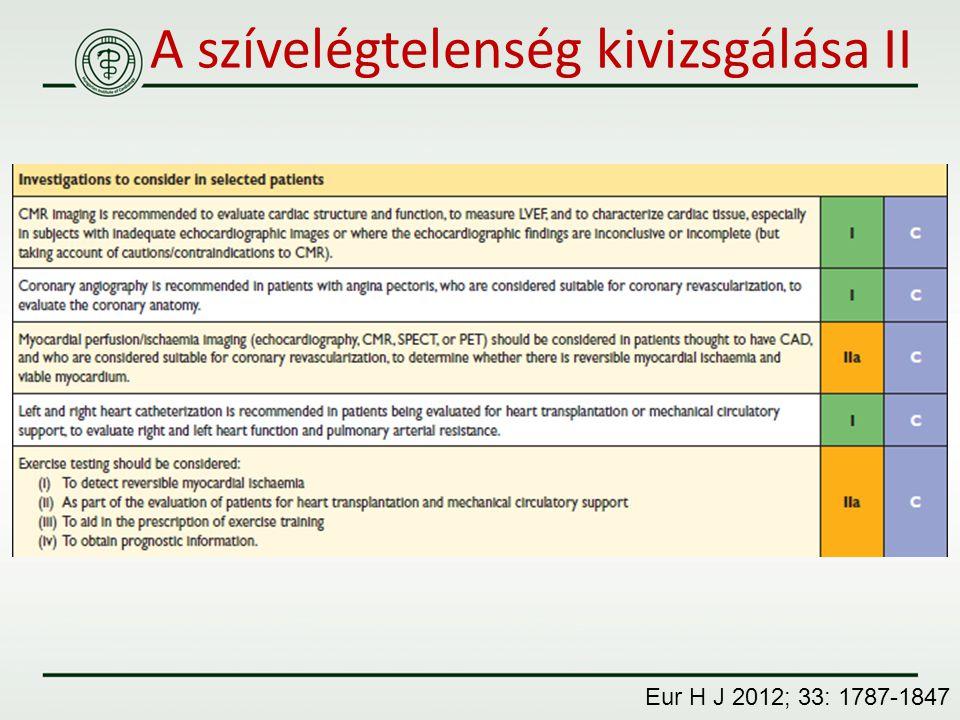 A szívelégtelenség kivizsgálása II Eur H J 2012; 33: 1787-1847