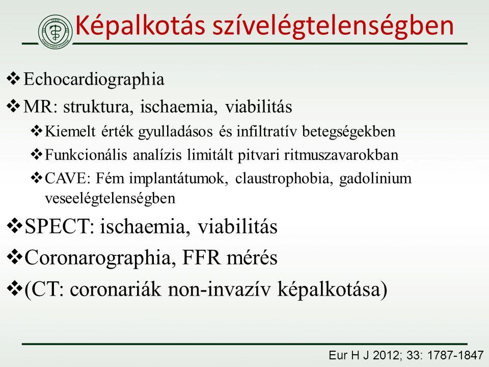 Képalkotás szívelégtelenségben  Echocardiographia  MR: struktura, ischaemia, viabilitás  Kiemelt érték gyulladásos és infiltratív betegségekben  F
