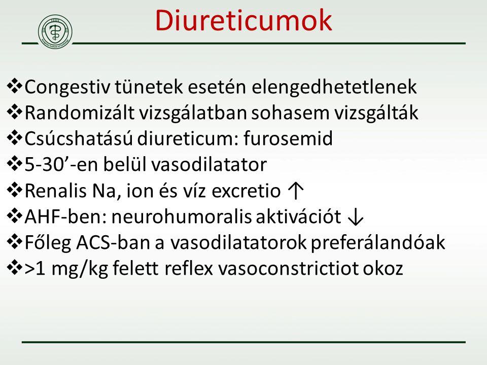 Diureticumok  Congestiv tünetek esetén elengedhetetlenek  Randomizált vizsgálatban sohasem vizsgálták  Csúcshatású diureticum: furosemid  5-30'-en
