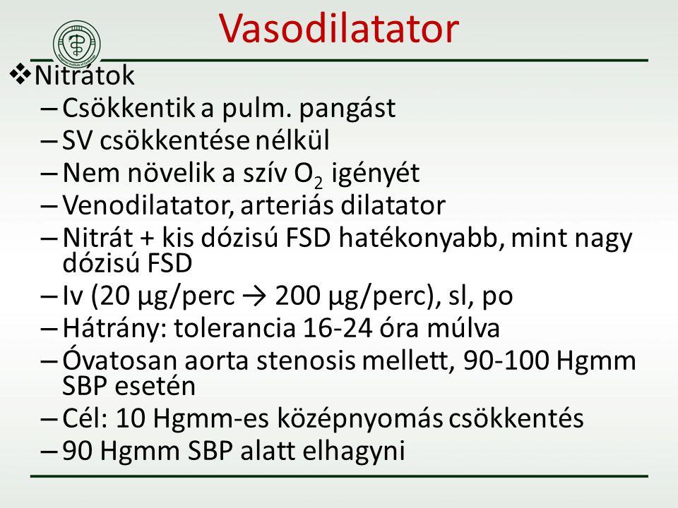 Vasodilatator  Nitrátok – Csökkentik a pulm. pangást – SV csökkentése nélkül – Nem növelik a szív O 2 igényét – Venodilatator, arteriás dilatator – N