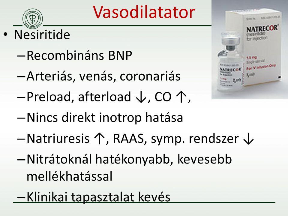 Vasodilatator Nesiritide – Recombináns BNP – Arteriás, venás, coronariás – Preload, afterload ↓, CO ↑, – Nincs direkt inotrop hatása – Natriuresis ↑,