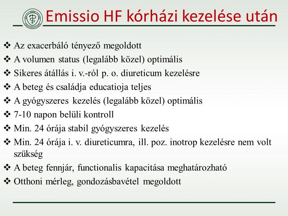 Emissio HF kórházi kezelése után  Az exacerbáló tényező megoldott  A volumen status (legalább közel) optimális  Sikeres átállás i. v.-ról p. o. diu