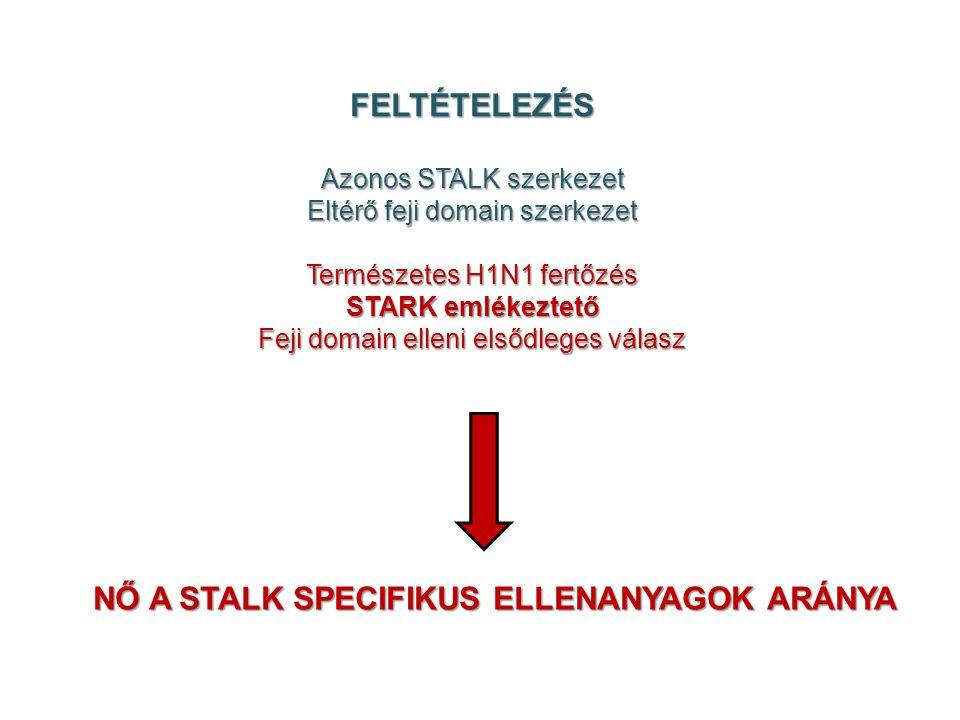 FELTÉTELEZÉS Azonos STALK szerkezet Eltérő feji domain szerkezet Természetes H1N1 fertőzés STARK emlékeztető Feji domain elleni elsődleges válasz NŐ A