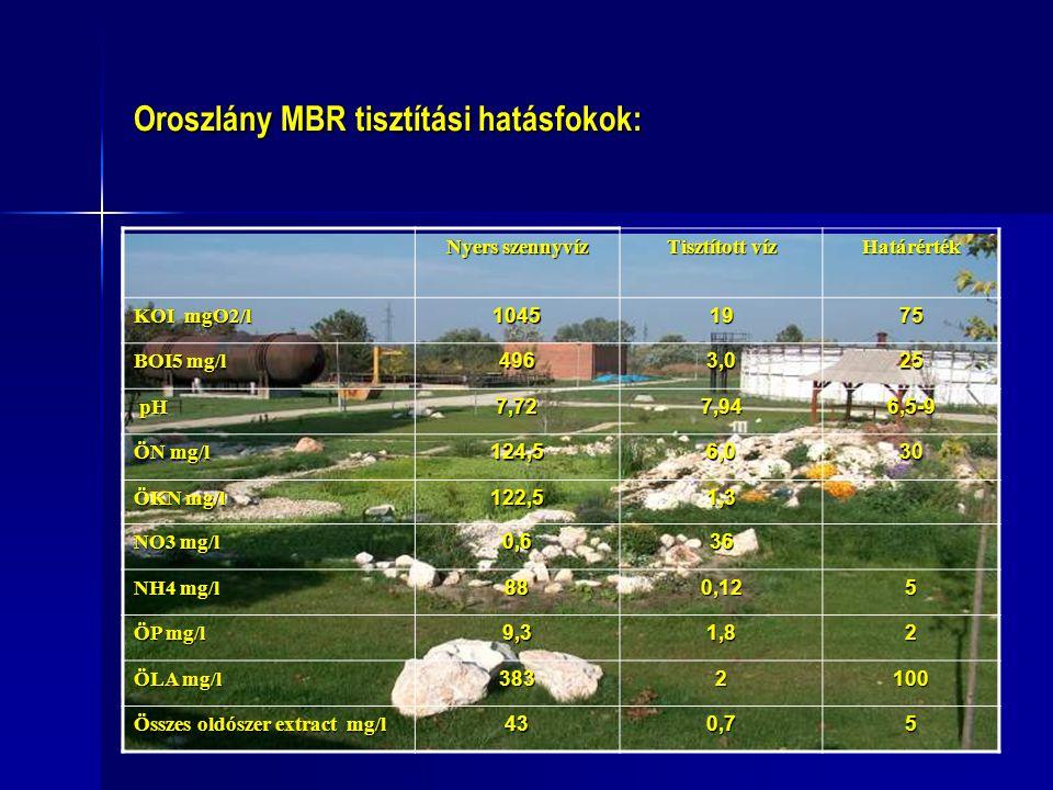 Oroszlány MBR tisztítási hatásfokok: Nyers szennyvíz Tisztított víz Határérték KOI mgO2/l 1045 1975 BOI5 mg/l 4963,025 pH pH7,727,946,5-9 ÖN mg/l 124,56,030 ÖKN mg/l 122,51,3 NO3 mg/l 0,6 36 NH4 mg/l 88888888 0,12 5 ÖP mg/l 9,31,82 ÖLA mg/l 3832100 Összes oldószer extract mg/l 434343430,75