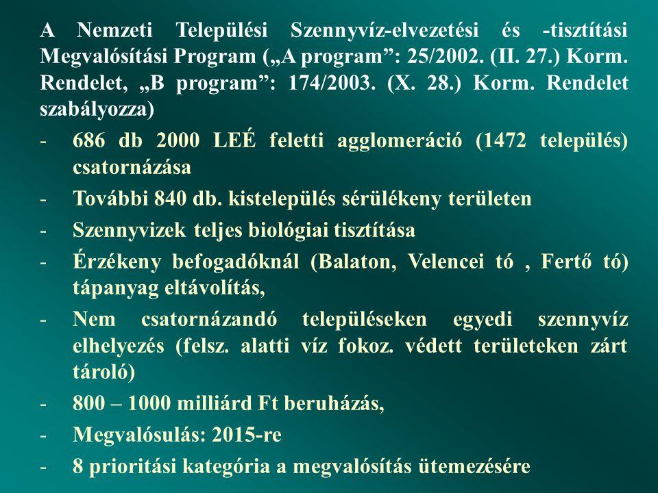 """A Nemzeti Települési Szennyvíz-elvezetési és -tisztítási Megvalósítási Program (""""A program : 25/2002."""
