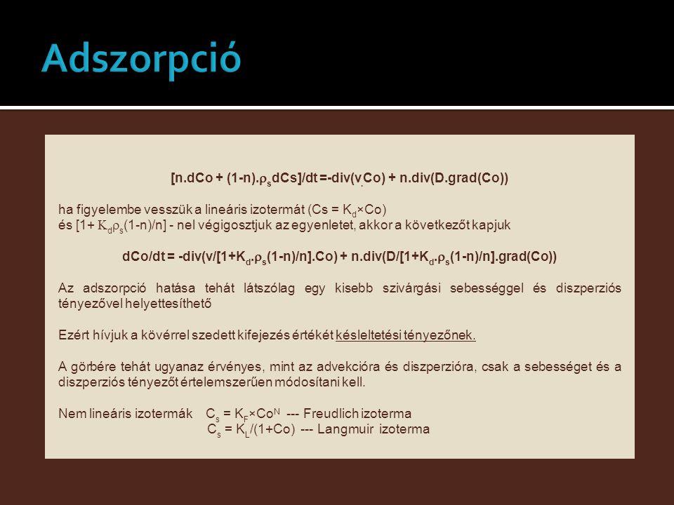 [n.dCo + (1-n).  s dCs]/dt =-div(v. Co) + n.div(D.grad(Co)) ha figyelembe vesszük a lineáris izotermát (Cs = K d ×Co) és [1+  d  s (1-n)/n] - nel