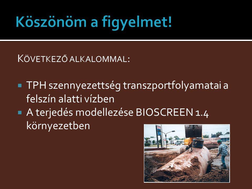 K ÖVETKEZŐ ALKALOMMAL :  TPH szennyezettség transzportfolyamatai a felszín alatti vízben  A terjedés modellezése BIOSCREEN 1.4 környezetben
