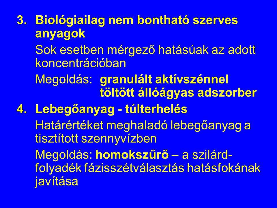 3.Biológiailag nem bontható szerves anyagok Sok esetben mérgező hatásúak az adott koncentrációban Megoldás: granulált aktívszénnel töltött állóágyas a