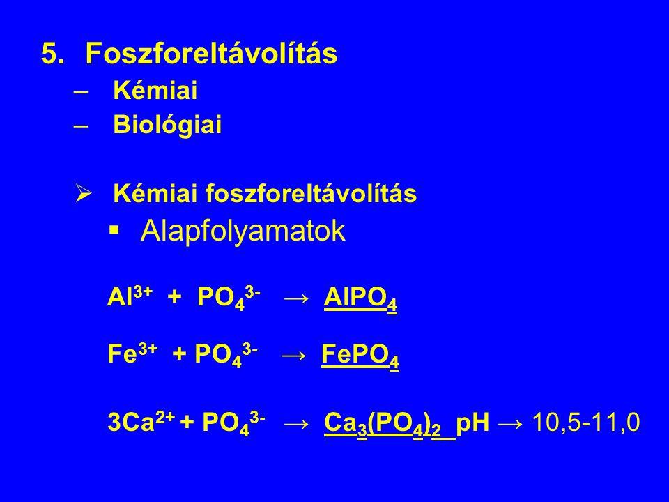 5.Foszforeltávolítás –Kémiai –Biológiai  Kémiai foszforeltávolítás  Alapfolyamatok Al 3+ + PO 4 3- → AlPO 4 Fe 3+ + PO 4 3- → FePO 4 3Ca 2+ + PO 4 3