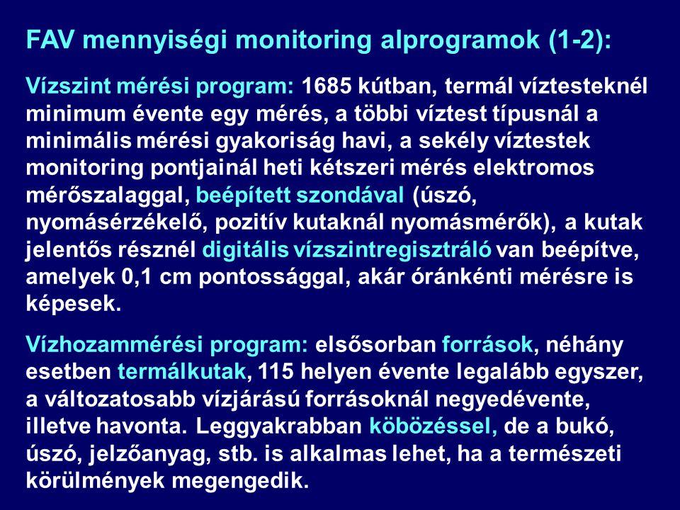 Vízszint mérési program: 1685 kútban, termál víztesteknél minimum évente egy mérés, a többi víztest típusnál a minimális mérési gyakoriság havi, a sek