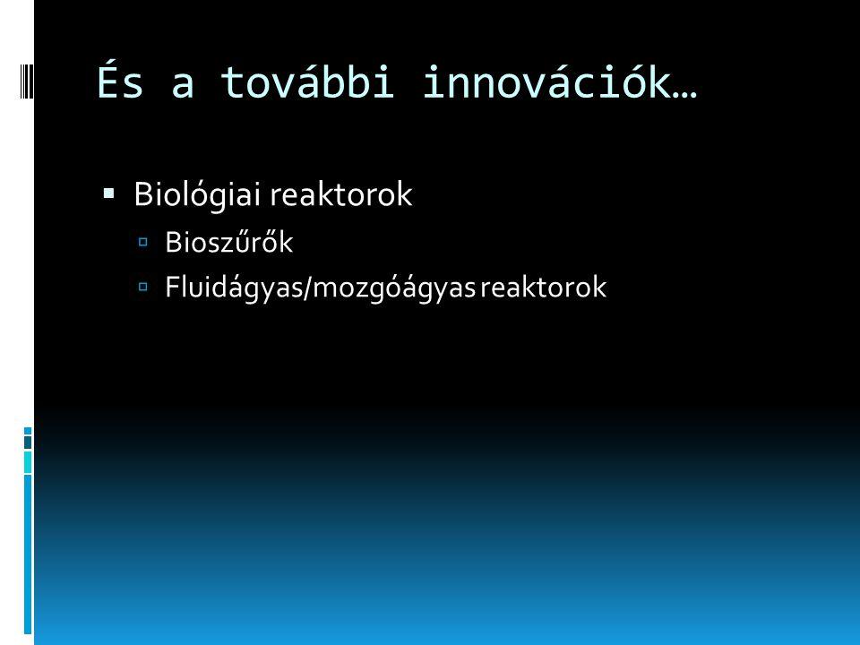 És a további innovációk…  Biológiai reaktorok  Bioszűrők  Fluidágyas/mozgóágyas reaktorok
