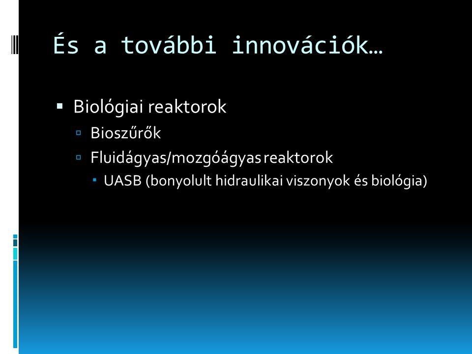 És a további innovációk…  Biológiai reaktorok  Bioszűrők  Fluidágyas/mozgóágyas reaktorok  UASB (bonyolult hidraulikai viszonyok és biológia)