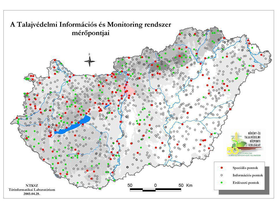 1236 pont, 3 megfigyelési pont típus: országos törzsmérő hálózat, 865 ponttal reprezentálja az ország mezőgazdasági művelésű területeinek talajállapotát; erdészeti mérőpontok 183 ponttal jellemzik az erdei ökoszisztémák alatti talajokat; speciális mérőhelyek a veszélyeztetett, illetve már szennyezett területek jellemzését szolgálják 188 ponton.