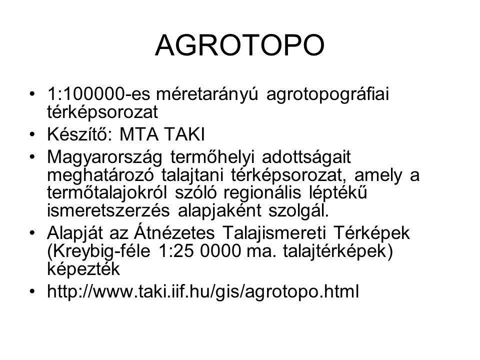 AGROTOPO 1:100000-es méretarányú agrotopográfiai térképsorozat Készítő: MTA TAKI Magyarország termőhelyi adottságait meghatározó talajtani térképsoroz