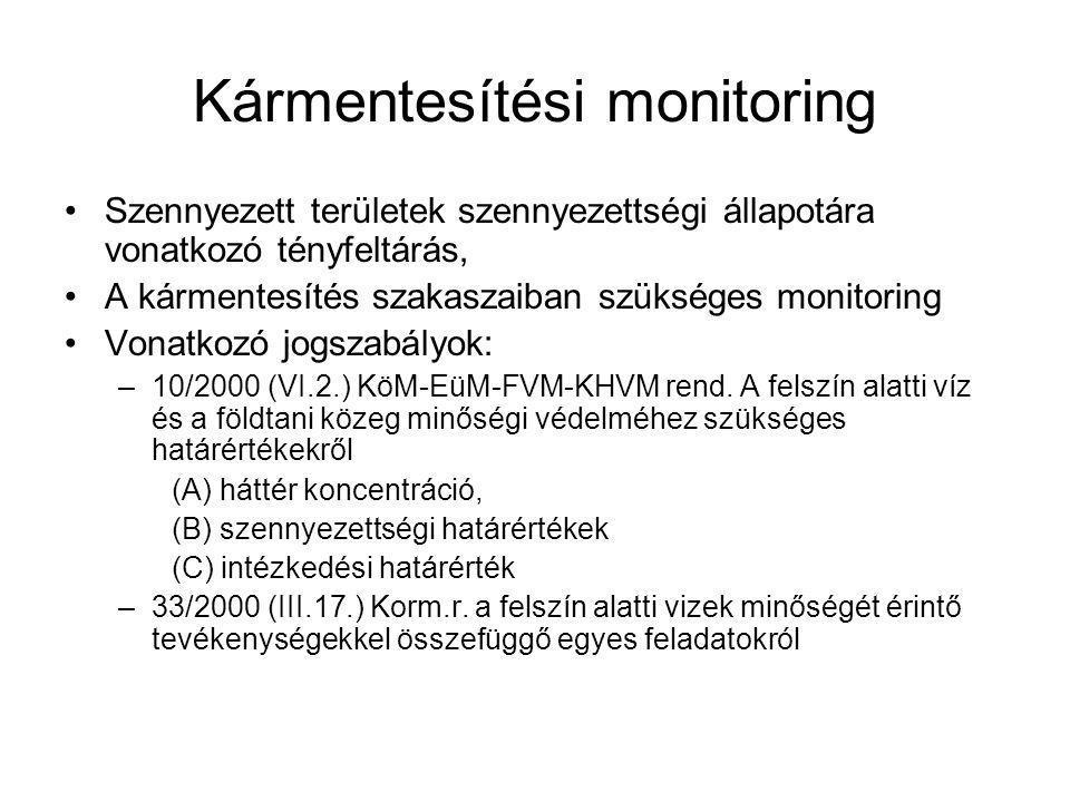 Kármentesítési monitoring Szennyezett területek szennyezettségi állapotára vonatkozó tényfeltárás, A kármentesítés szakaszaiban szükséges monitoring V