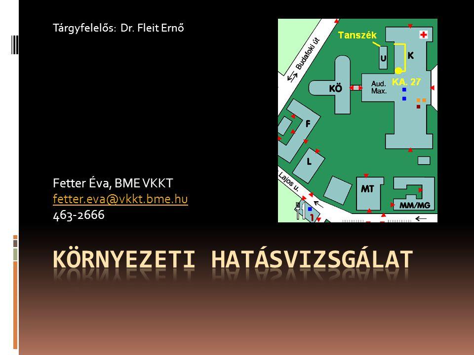 Fetter Éva, BME VKKT fetter.eva@vkkt.bme.hu 463-2666 Tárgyfelelős: Dr. Fleit Ernő