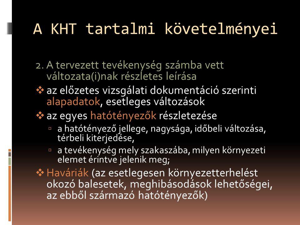 A KHT tartalmi követelményei 2.