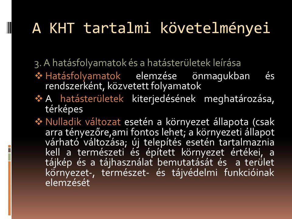A KHT tartalmi követelményei 3.