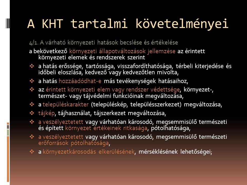 A KHT tartalmi követelményei 4/1.
