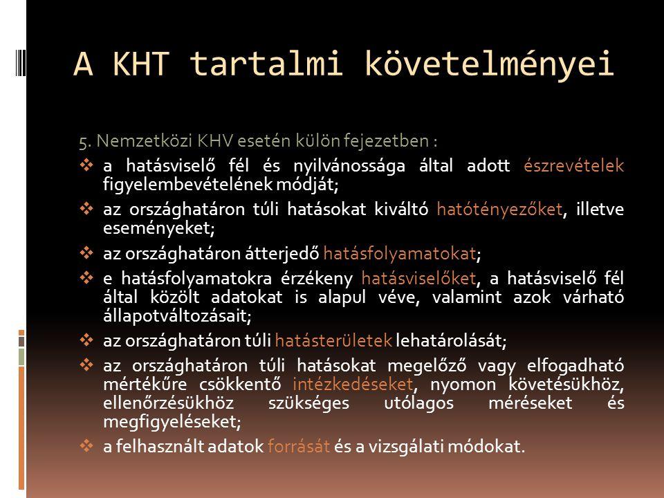 A KHT tartalmi követelményei 5.
