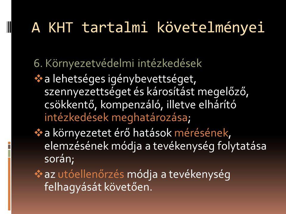 A KHT tartalmi követelményei 6.