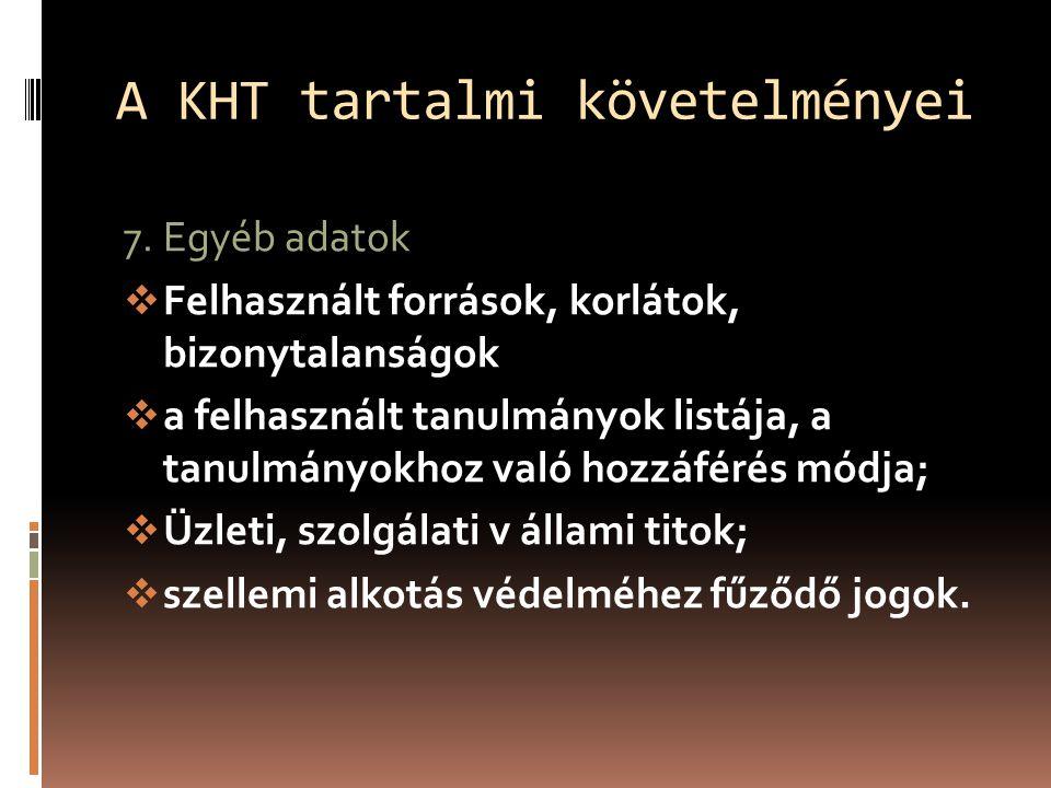 A KHT tartalmi követelményei 7.