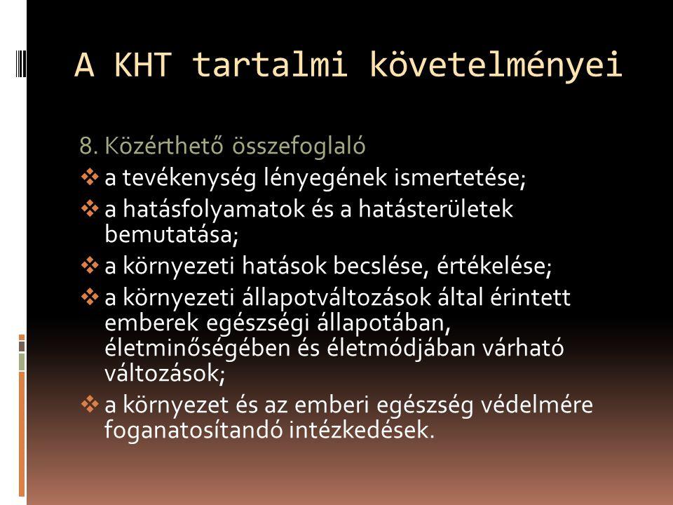 A KHT tartalmi követelményei 8.