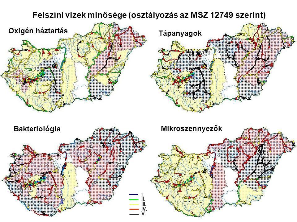 Felszíni vizek minősége (osztályozás az MSZ 12749 szerint) Oxigén háztartás Tápanyagok Bakteriológia Mikroszennyezők I.