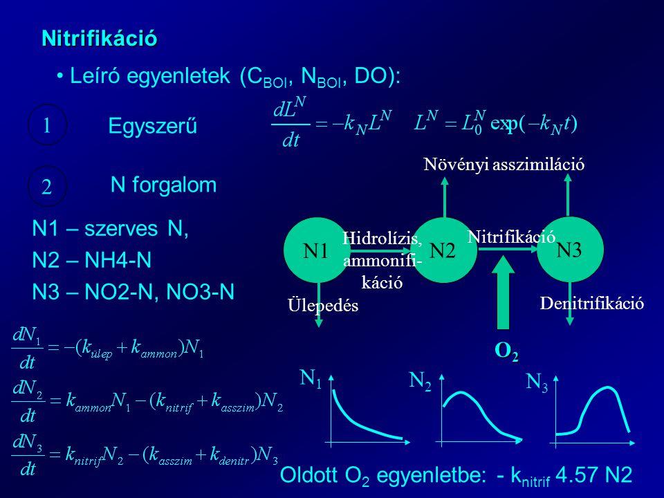Nitrifikáció Leíró egyenletek (C BOI, N BOI, DO): 1 2 Egyszerű N forgalom N1 N2 N3 Ülepedés Denitrifikáció Növényi asszimiláció Hidrolízis, ammonifi- káció Nitrifikáció O2O2O2O2 N1 – szerves N, N2 – NH4-N N3 – NO2-N, NO3-N N1N1 N2N2 N3N3 Oldott O 2 egyenletbe: - k nitrif 4.57 N2