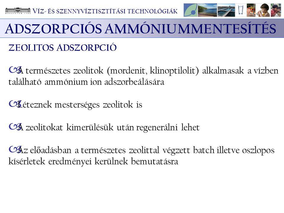 ADSZORPCIÓS AMMÓNIUMMENTESÍTÉS ZEOLITOS ADSZORPCIÓ  A természetes zeolitok (mordenit, klinoptilolit) alkalmasak a vízben található ammónium ion adszo