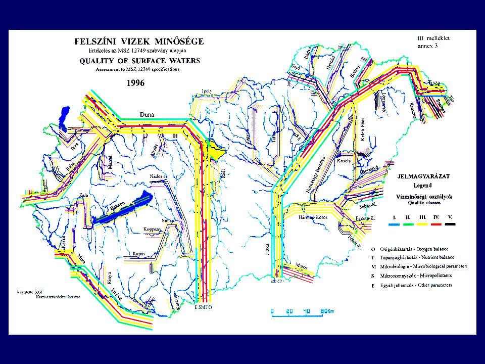 Komponens Hegy/dombvid.-i kisvízfolyások (1,2,3,4,5,8,9 típusok) Hegy/domb.-i közepes és nagy folyók (6,7,10 típusok) Síkvidéki kisvízfolyások (11,12,15,16,17 típusok) Síkvidéki közepes és nagy folyók (13,14,18, 19,20) Síkvidéki, szerves mederanyagú vízfolyások (21, 22 típusok) Vezetőképesség (μS/cm) 300 (szilikátos) 900 (meszes) 600700600900 Oxigén telítettség* (%) 80 - 10070 - 11060 - 11070 – 11060 - 110 BOI 5 (mg/l)45654 KOI cr (mg/l)202225 40 NH4-N (mg/l)0.30.40.50.4 NO2-N (mg/l)0.05 NO3-N (mg/l)33333 Összes N (mg/l)55555 PO4-P (mg/m 3 )100 (50**) 150 (80**) Össz.