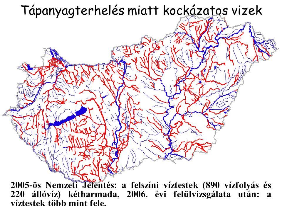 Magas tápanyag (P) koncentráció miatt kockázatos felszíni víztestek száma jelenleg és az alapintézkedések megvalósítása után Fővíz- gyűjtő összes víztest Jelenlegi állapot (2004) Várható (alap) forgatókönyv Kedvezőtlen (pesszimista) forgatókönyv db % % % DUNA40221654%23759%27067% TISZA31916351%21467%24376% DRÁVA903337%3640%4146% BALATON873945%3743%5159% ORSZÁG89845150%52458%60567%