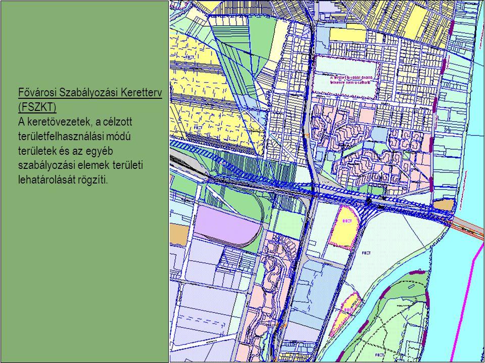Fővárosi Szabályozási Keretterv (FSZKT) A keretövezetek, a célzott területfelhasználási módú területek és az egyéb szabályozási elemek területi lehatá