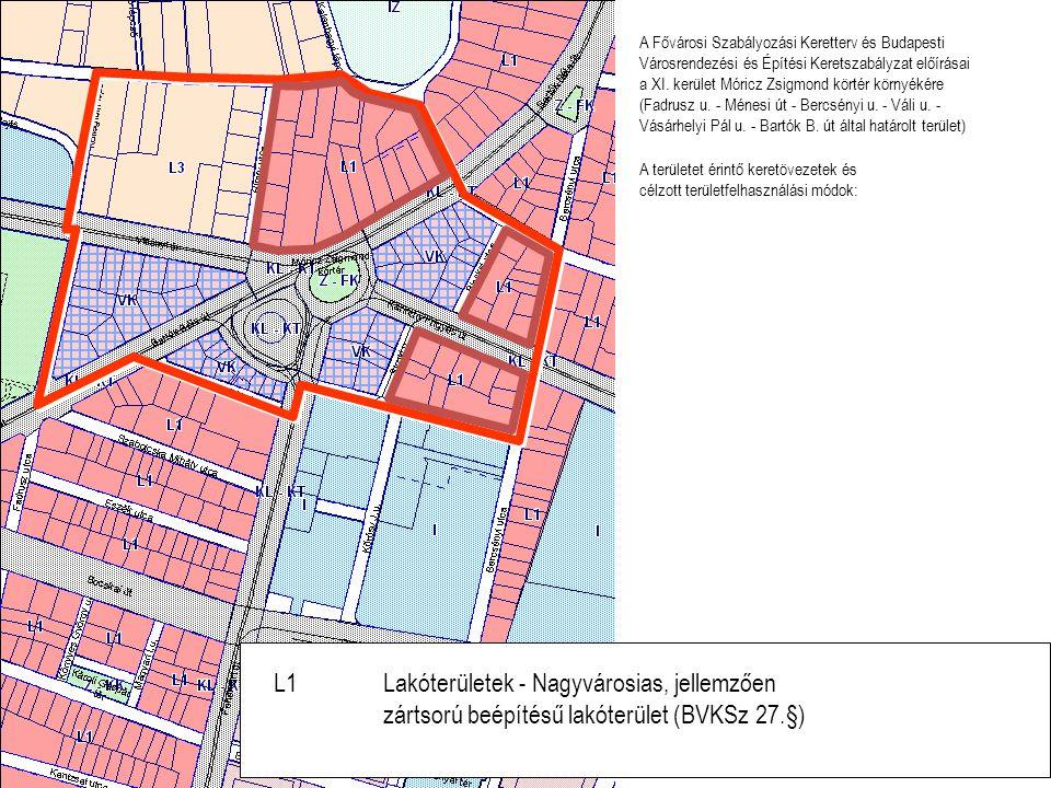 L1Lakóterületek - Nagyvárosias, jellemzően zártsorú beépítésű lakóterület (BVKSz 27.§) A területet érintő keretövezetek és célzott területfelhasználás