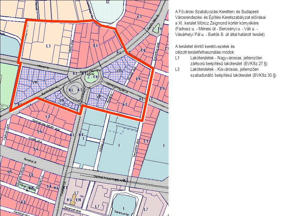 A területet érintő keretövezetek és célzott területfelhasználási módok: L1Lakóterületek - Nagyvárosias, jellemzően zártsorú beépítésű lakóterület (BVK