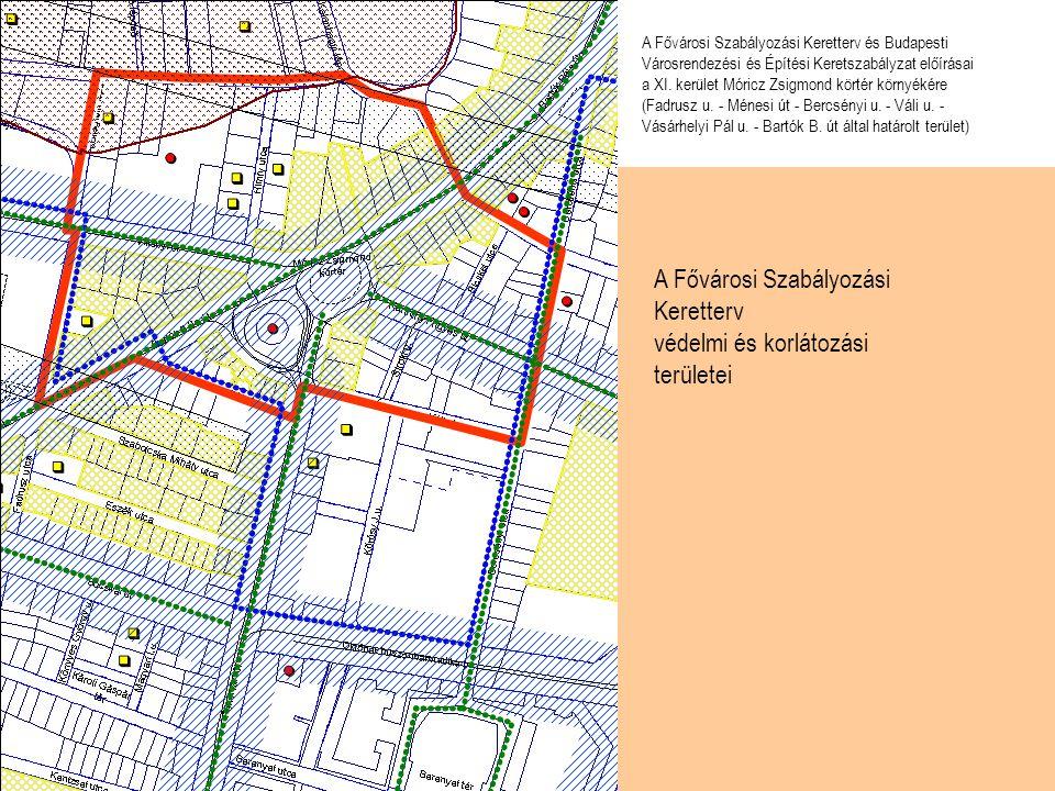 A Fővárosi Szabályozási Keretterv védelmi és korlátozási területei A Fővárosi Szabályozási Keretterv és Budapesti Városrendezési és Építési Keretszabá