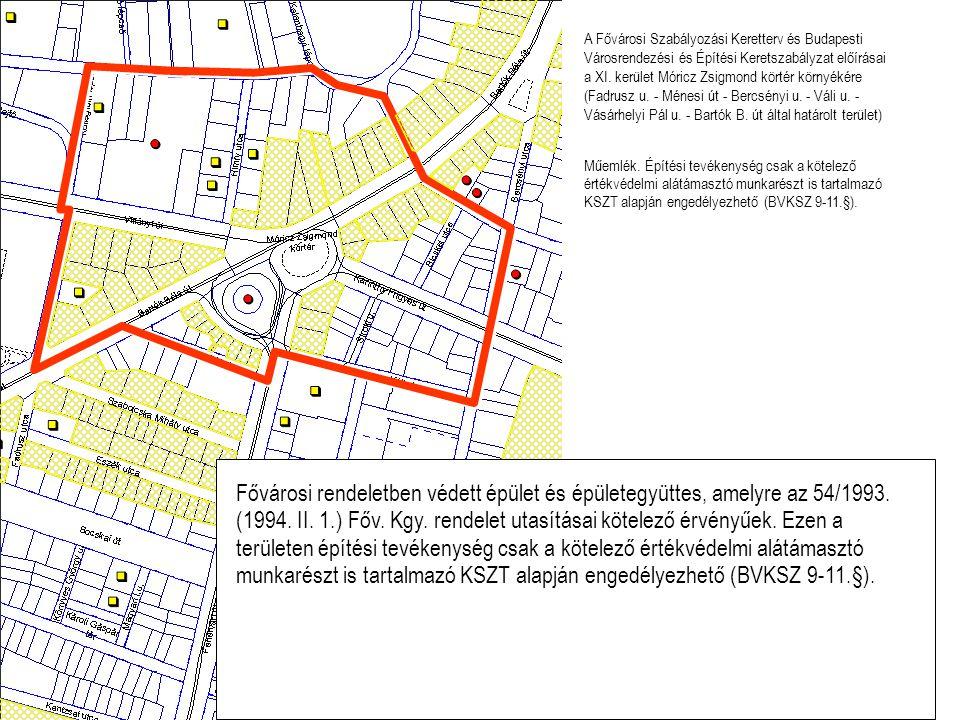 A Fővárosi Szabályozási Keretterv és Budapesti Városrendezési és Építési Keretszabályzat előírásai a XI. kerület Móricz Zsigmond körtér környékére (Fa