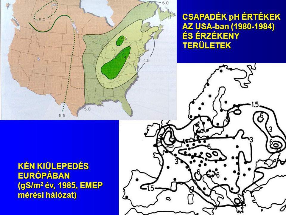 KÉN KIÜLEPEDÉS EURÓPÁBAN (gS/m 2 év, 1985, EMEP mérési hálózat) CSAPADÉK pH ÉRTÉKEK AZ USA-ban (1980-1984) ÉS ÉRZÉKENY TERÜLETEK