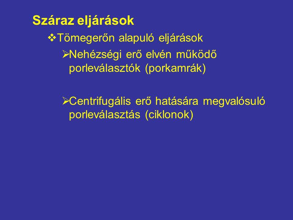 Száraz eljárások  Tömegerőn alapuló eljárások  Nehézségi erő elvén működő porleválasztók (porkamrák)  Centrifugális erő hatására megvalósuló porlev