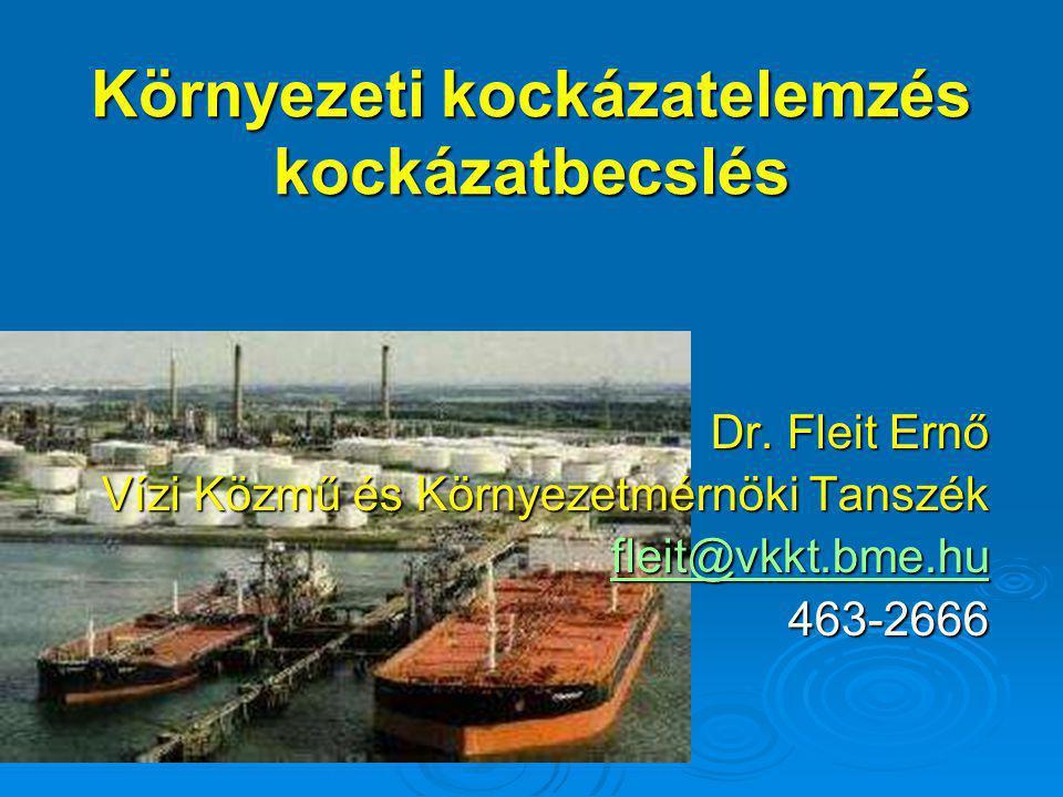 Környezeti kockázatelemzés kockázatbecslés Dr. Fleit Ernő Vízi Közmű és Környezetmérnöki Tanszék fleit@vkkt.bme.hu 463-2666