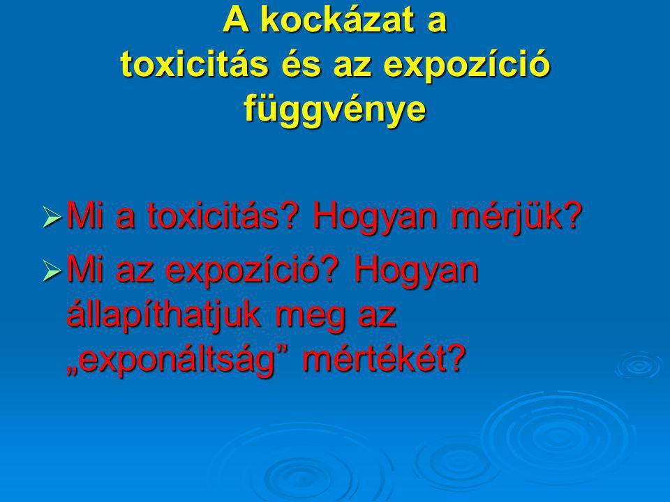 """A kockázat a toxicitás és az expozíció függvénye  Mi a toxicitás? Hogyan mérjük?  Mi az expozíció? Hogyan állapíthatjuk meg az """"exponáltság"""" mértéké"""